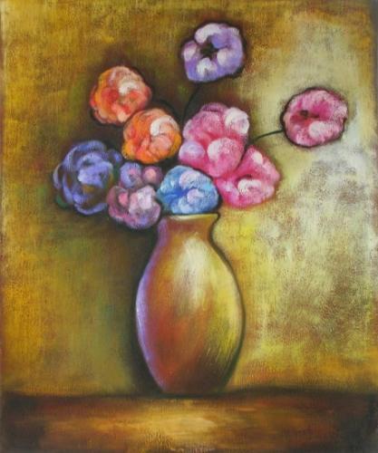 obraz Váza s barevnými květy