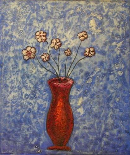 obraz Červená váza s květy