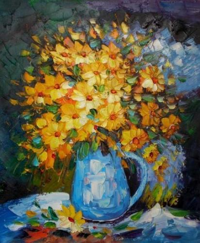 obraz Žlutá kytice ve váze