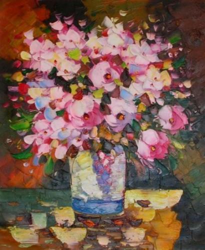 obraz Kytice růžových květů