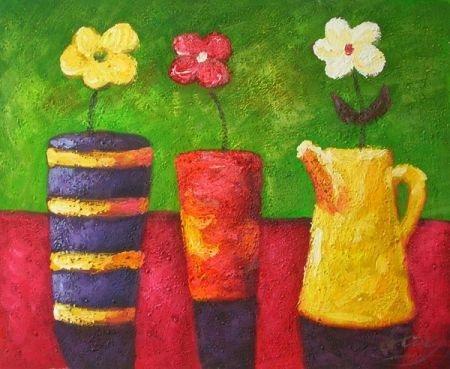 obraz Tři vázy a tři květy