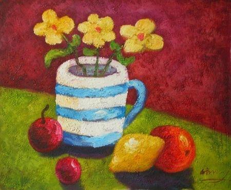 obraz Hrnek a ovoce