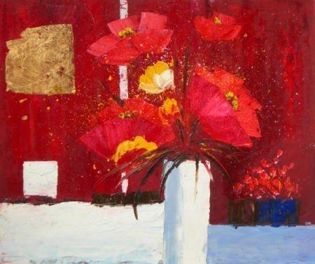 obraz Červené květy ve váze