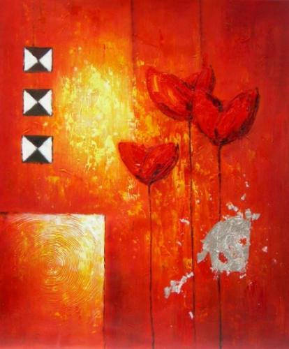 obraz Tři červené květiny