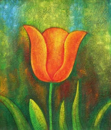 obrazy ručně malované - obraz Květiny - Červený tulipán de4d3a869f