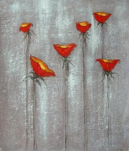 obraz Červená kvítka
