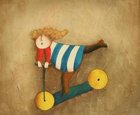 obraz Dívka na koloběžce