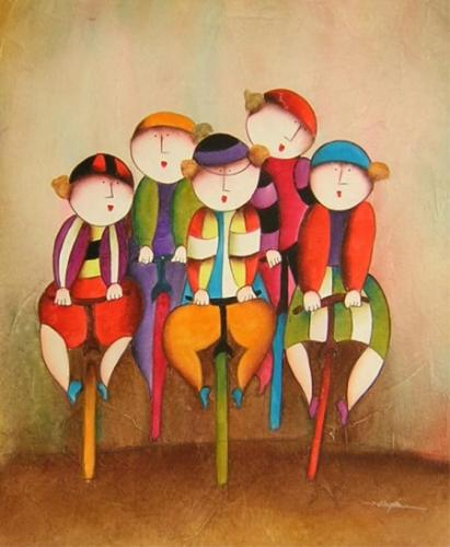 obraz Děti na kolách