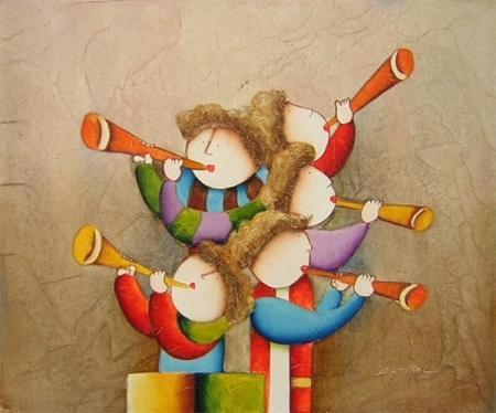 obraz Děti hrající na trubku