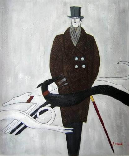 obraz Muž se psem