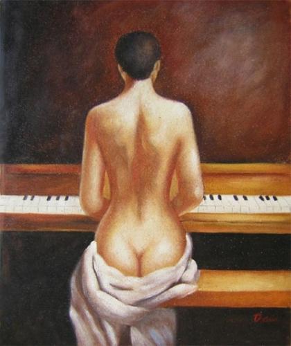 obraz žena ze zadu hrající na piano