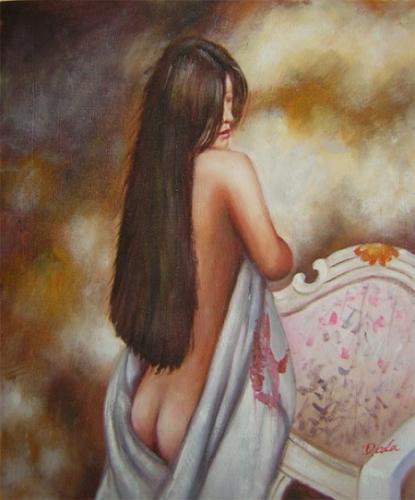 obraz Přemýšlející žena