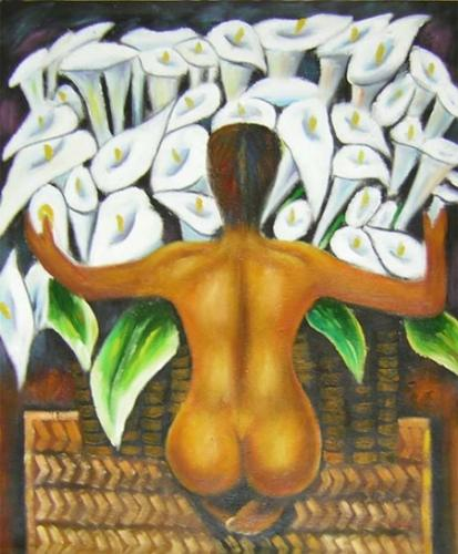 obraz Muž s náručí květin