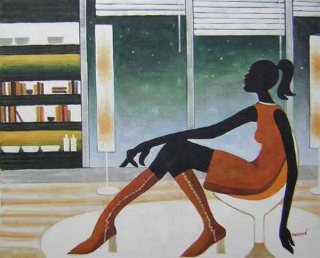 obraz Sedící žena v bufetu
