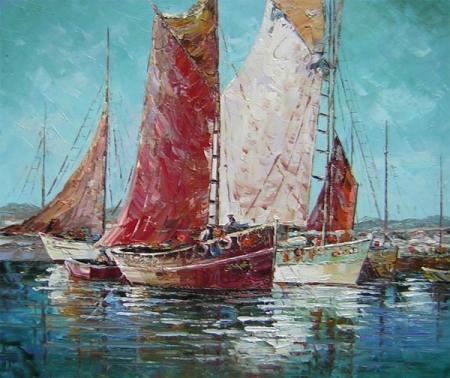 obrazy ručně malované - obraz Moře a lodě - Přístav plachetnic, obrazy do bytu