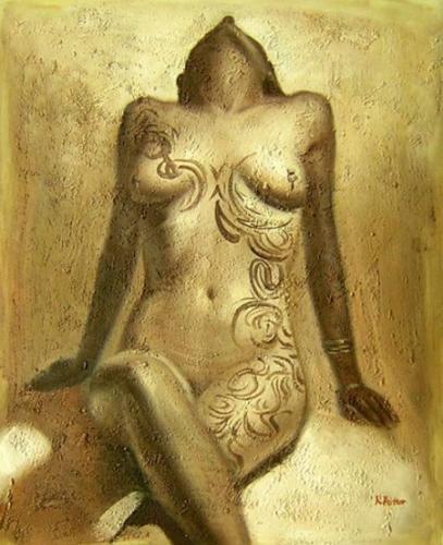 obraz Potetovaná nahá žena