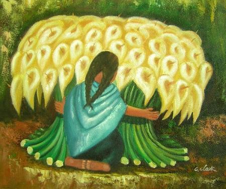 obraz Žena s náručí květin
