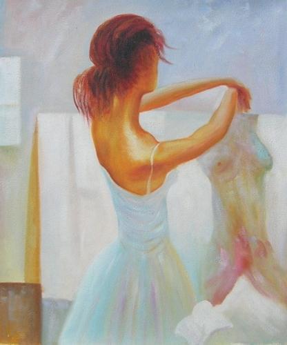 obraz Oblíkající se baletka