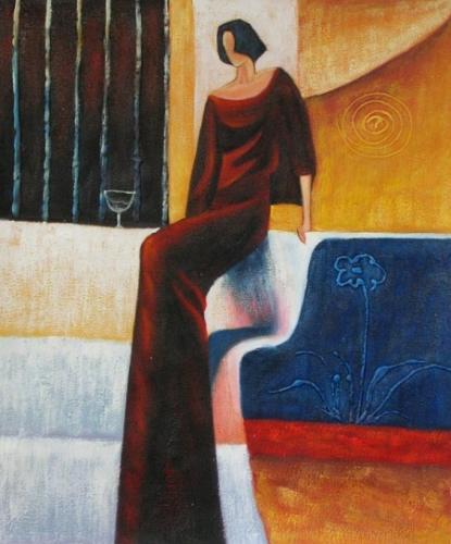 obraz Žena v růdých šatech