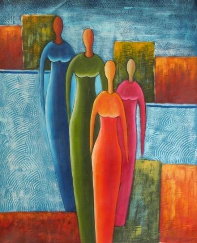obraz Ženy v barevných šatech