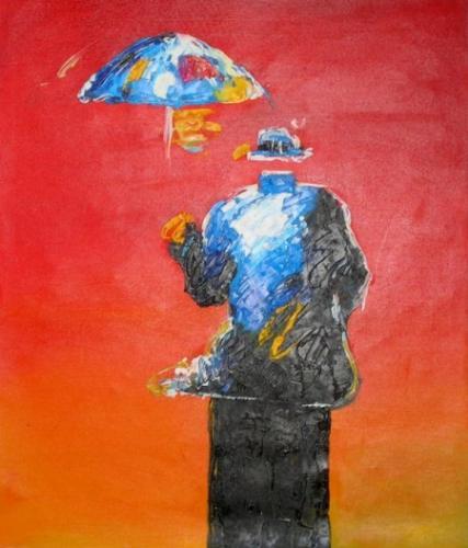 obraz Člověk s dešníkem
