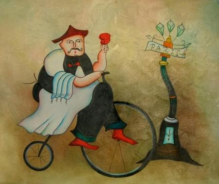 obraz Kuchař na kole
