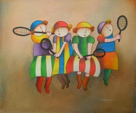 obraz Děti s pálkami na tenis
