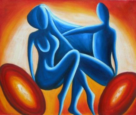 obraz Modrý pár