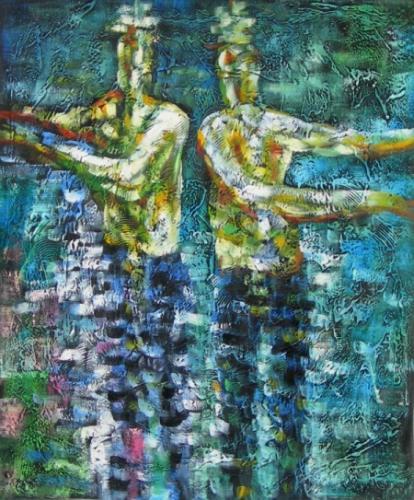 obraz Muži v jezeře