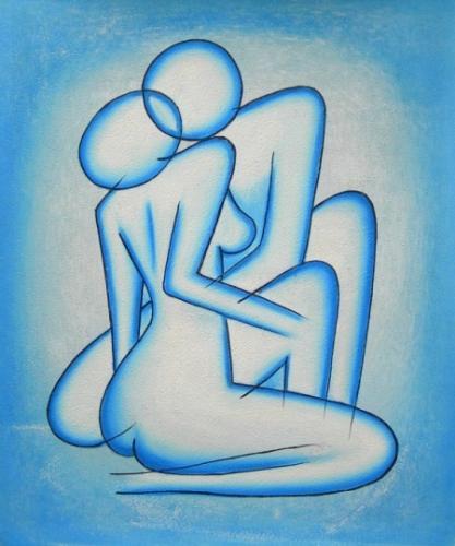 obraz Modrá propletená těla