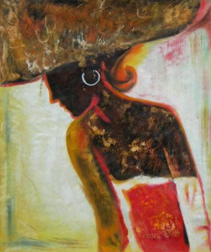 obraz Sedící smutná žena