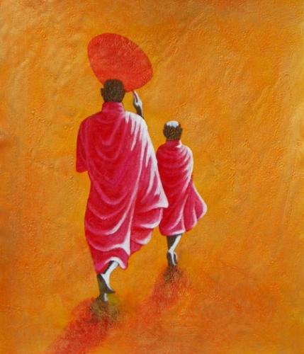 obraz Pochodující mniši