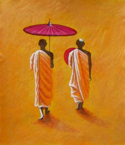 obraz Mniši s deštníkem