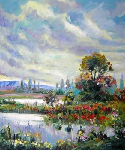 obrazy ručně malované - obraz Krajiny - Barevné nebe 91eedd9679
