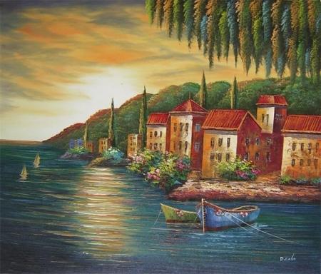 obraz Pobřeží v západá slunce