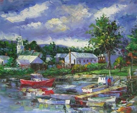 obrazy ručně malované - obraz Krajiny - Klid před bouří, obrazy do bytu