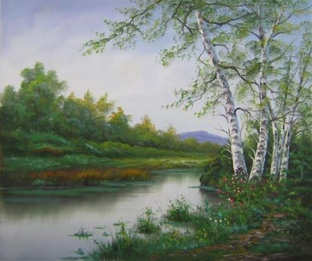 obrazy ručně malované - obraz Krajiny - Klidná řeka, obrazy do bytu