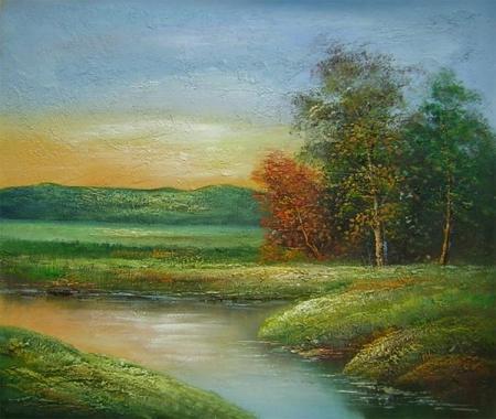 obraz Řeka v západu slunce