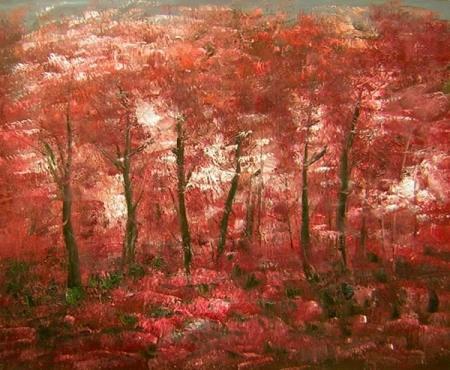 obraz Zátiší s červenými javory