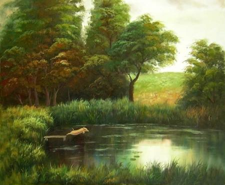 obraz Jezírko u lesa