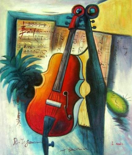 obraz Zátiší s houslemi