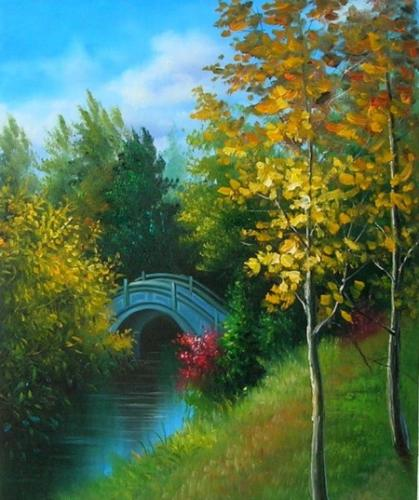 obraz Most v parku