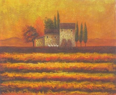 obraz Domek v západu slunce