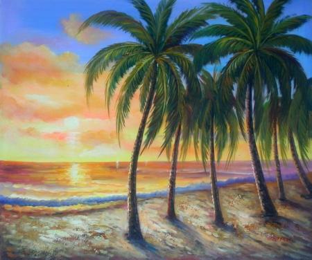 obraz Ostrov při západu slunce