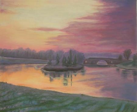 obraz Západ slunce na jezeře