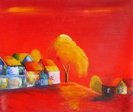 obraz Červená krajina