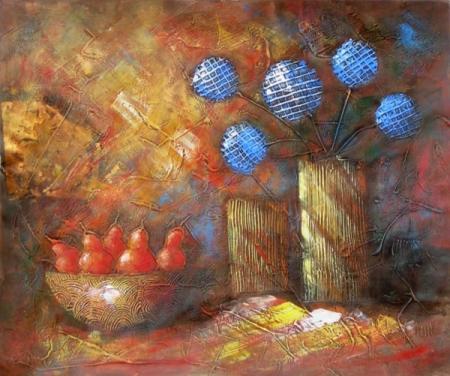 obraz Zátiší s modrými květy