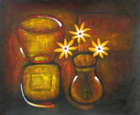 obraz Zátiší se zlatými květy
