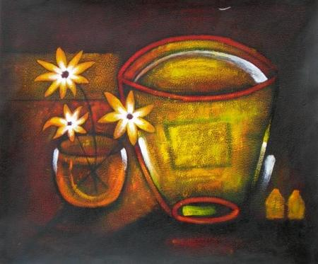 obraz Zlatá mísa s květy