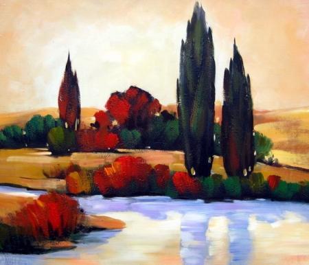 obraz Topoly u jezera